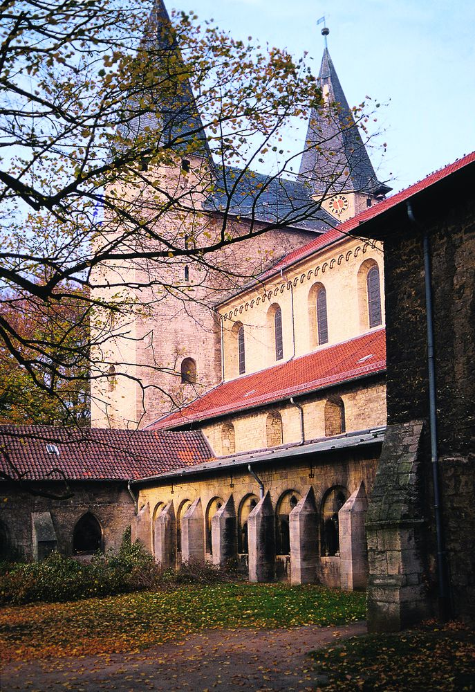 View of the church from the cloister to the west towers.